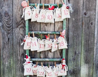 Free Shipping  Advent Calendar Bags Red  Christmas Decor   Advent Bags   Advent Bags  Christmas Countdown