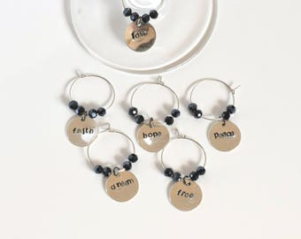 Wine glass charms, wine lovers gift, wine glass tags, stamped wine charms, six glass charms, personalised stamped tags, housewarming gift