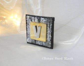 Letter V Silver and Gold Vintage Metal Letter Magnet 2 X 2