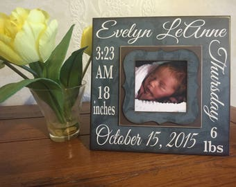 New Baby Stats Frame ~ Baby Name ~ Baby Birth Date ~ Newborn Weight ~ Length~ Gift to New Parents~ Birth Announcement ~ New Baby Gift~ 8x8