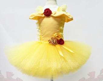 PRINCESS ROSE DRESS, Tutu Costume, Girls Halloween Costume, Beauty, Gold, Children, Infant, Baby, Child, Kids, Yellow