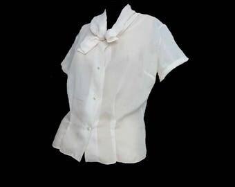 Vintage 1950s Blouse Sheer Nylon Blouse Very Pale Pink Bow Neckline Short Sleeve Secretary Blouse Le Charme Label