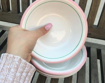 Vintage Pink and Mint rim Stoneware Bowl Set (4 Piece)