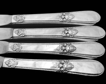 4 Vintage Silver Plated Knives Floral Knife Adoration  Silver Plate Hollow Handle Dinner Knife, Silver Plated Floral Silverware
