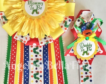 The Very Hungry Caterpillar Mommy and Daddy To Be Corsage Set