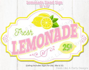 Lemonade Stand Sign - Instant Download