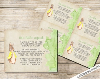 Peter Rabbit Bring A Book Baby Shower Insert, INSTANT DOWNLOAD, Digital File, Printable _1249YELLOW