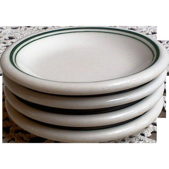 White and Green Ironstone Set of 4 Butter Pats
