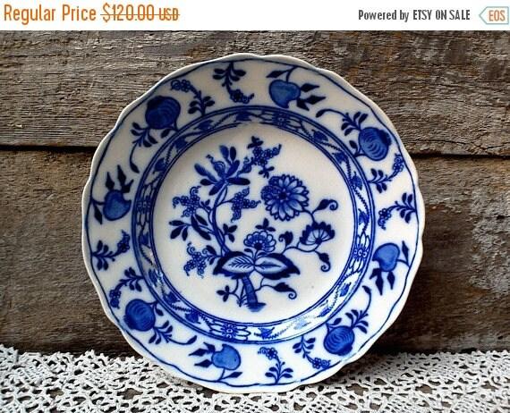 Meissen Flow Blue Plate Cauldron England Cabinet Plate Shallow Plate Blue Transferware Flow Blue Blue Onion