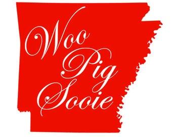 Woo Pig Sooie, State Silhouette, Arkansas Razorback SVG PNG DXF Cutting Machine File, Silhouette File, Cricut File, Tshirt Design