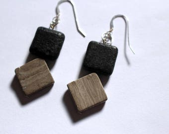 Marble and lava stone earrings