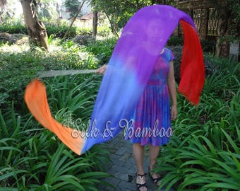 1 pc 2.5m*0.3m orange-blue-purple-red silk streamer, for dance or play, real light silk, intercangeable sticks