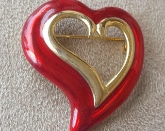 Valentine Heart Pin - Goldtone and Red Enamel Vintage Jewelry Brooch