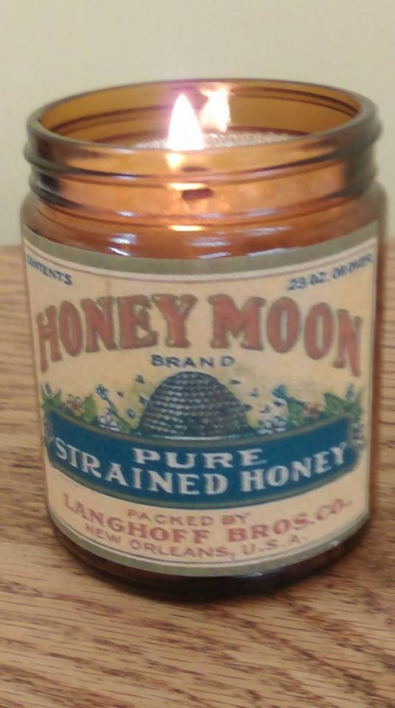 WILD HONEY - Vintage Label Organic Wood Wick Candle with Black Lid 9 oz - Free Shipping in the USA