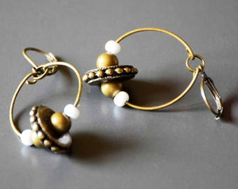 Madrid ring and bronze seed beads earrings