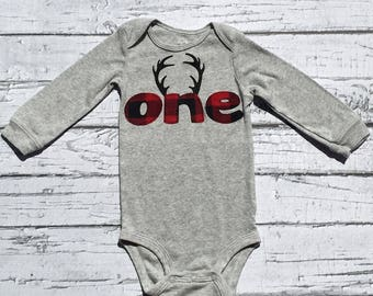 First Birthday. One. Lumberjack. Antlers. Woodland. Size 12 Months. Bodysuit.  READY TO  SHIP
