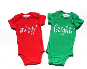 Christmas. Merry. Bright. Twins. Siblings. Brother. Sister. Size 3 Months. READY TO SHIP