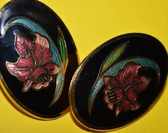 Vintage Black Enamel Cloisonne Earrings Flower Orchid  1980s
