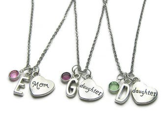 Personalized Mom And 2 Daughter Necklaces, Mom 2 Daughter Birthstone Necklaces, Mom Necklace,2 Daughters Necklaces,Mother Daughter Necklaces