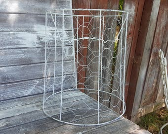Lampshade wire rings etsy vintage chicken wire jewelry tree ring key caddy swag metal lampshade chippy white chandelier cottage lamp greentooth