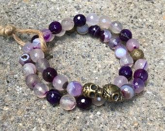 8mm agate gemstones purple skull bracelets skulls beads beaded bracelet