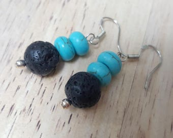 Lava stone and howlite earrings