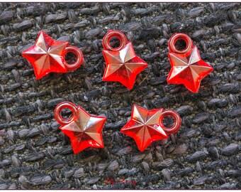 Transparent red 1.1 cm x 1 star charm
