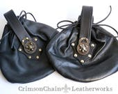 Black Leather Large Bristol pouch by Crimson Chain leatherworks - SCA LARP costume renaissance reenactment garb