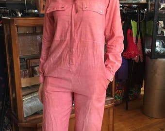 "Vintage 90's ""Izod"" Jumpsuit, 90's Pantsuit, Light Red Cotton Jumpsuit, Romper, Women's Size Medium"