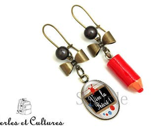 Earrings long live the playground! Back pencil school teacher bow ღ stain ink do not this girl!