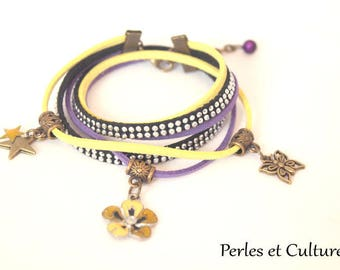 Cuff - horned purple Pansy yellow Purple Butterfly