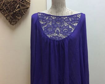 Purple lace detail long sleeved bohemian style top