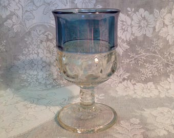 King's crown glass wine goblet blue iridescent band thumbprint replacement stemware glassware romantic cottage chic drinkware dining