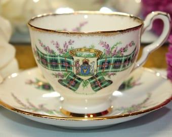 "ROYAL Darwood Bone China Teacup and Saucer Set ""Tartan Series - MacKenzie"""
