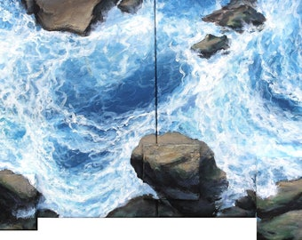 "Original painting ""Above the rocks II"" by Anna Starkova 18""x41"""