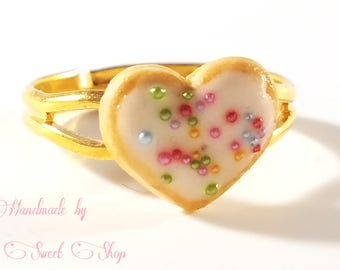 Frosted Heart Cookie Adjustable Statement Ring, Kawaii Polymer Clay Sweets,  Fake Food, Sweet Lolita, Deco Sweets, Harajuku Fashion