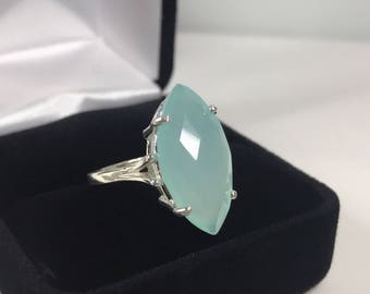 GENUINE 6.5ct Marquise Cut Aquamarine Chalcedony Ring Sterling Silver Size 6 7 8 9 Trending Jewelry Gift Mom Wife Daughter Bridal