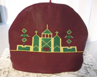 Vintage Hand Made Tea Cosy  Hand Embroidered Tea Cozy