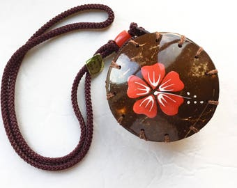 Vintage Purse Necklace Coconut Shell on a Rope Coin Purse Necklace Made in Philippines Hard Shell Necklace Change Purse Necklace Island Wear