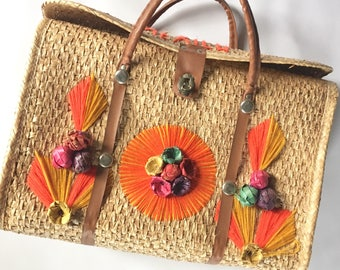 1960s Mexico Straw Tourist Bag Vintage Straw Bag Mexico Souvenir  Market Bag Purse Travel Bag Brightly Colored Floral Straw Bag from Mexico