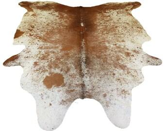 Glacier Wear Longhorn Cow Hide Leather Hair-On Rug #068
