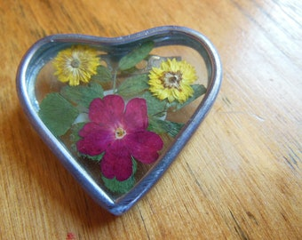 Vintage Heart Shaped Pin with Encased Dried Flowers