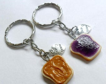 ON SALE Peanut Butter and Jelly Keychain Set, With Best Friend Charms, BFF Keychains, Cute :D