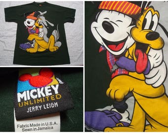 Vintage Retro Men's 90's Mickey Mouse Tee shirt Green Pluto Hipster Mickey Unlimited Jerry Leigh Disney Short Sleeve Large XL