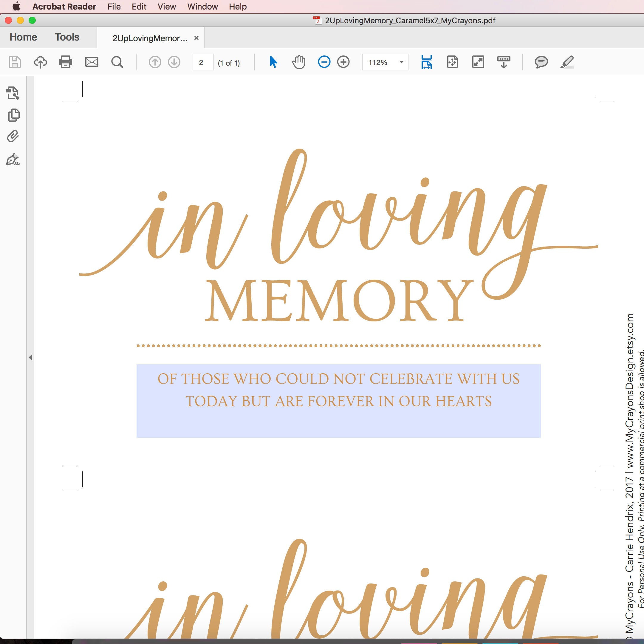in loving memory wedding sign printable // gold wedding, Powerpoint templates