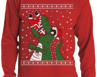 Santa Claws Ugly Christmas Sweater T-Rex VS Santa Funny Long Sleeve T-Shirt