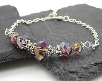 Plum Crystal Bridesmaid Bracelet, Purple Bridal Jewellery, Bridal Party Gifts, Sangria Wedding, Plum Bridal Sets, Bridesmaid Gift Idea,