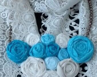 """Handmade Fabric Flower Statement Bib Necklace on Vintage Bronze Ball Chain 14.5"""" Accessories"""