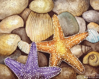 Beach Art Print, Starfish Wall Art, Coastal Art, Beach House Decor, Nautical Wall Decor Watercolor Print, Sea Life Art Print