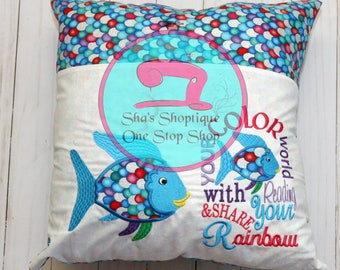 Colorful fish reading pillow